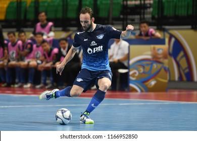 BANGKOK THAILAND-AUG27 -2018:Venancio Rudimar of PTT Bluewave Chonburi in action during World Intercontinental Futsal Cup2018 Match PTT Bluewave Chonburi-Club Atletico Los Angeles at Bangkok Arena
