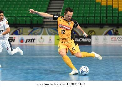 BANGKOK THAILAND-AUG28:Falcao of Magnus Futsal in action during World Intercontinental Futsal Cup 2018 Match Magnus Futsal and Elite Futsal at Bangkok Arena Stadium on August 28,2018
