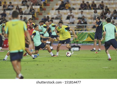 BANGKOK, THAILAND-AUGUST 06:Maec Bratar(R2) of Barcelona FC in action during Barcelona FC training session at Rajamangala Stadium on August 06, 2013 in Bangkok,Thailand.