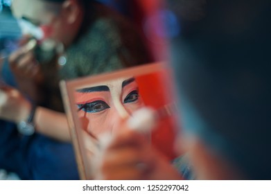 BANGKOK, THAILAND-Dec, 7 2018:Chinese opera make up be hide the stage, performance show festival for Chinese culture in China town Thailand