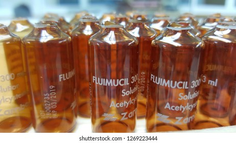 BANGKOK Thailand,December 22,2017 -Ampoules of Acetylcysteine or Fluimucil after used to treat Paracetamol overdose.