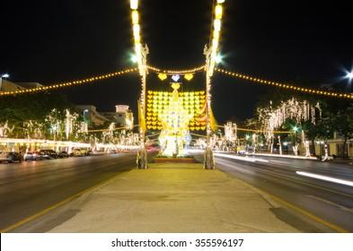 BANGKOK THAILAND-DECEMBER 27 : Lighting picture birthday celebration (father day) King of Thailand on December 5, 2015 at Ratchadamnoen Klang Road on December 29,2015 in Bangkok,Thailand