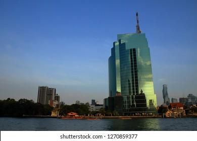 Bangkok, Thailand-December 30, 2018: View of Chao phraya river and CAT telecom tower.