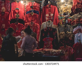 Bangkok, Thailand-Feb 04'2019: Red clothes shop for Chinese new year celebration in night street market at China town Yaowarat Road.