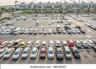 BANGKOK, THAILAND-FEB 07, 2014 : Aerial view of airport car crowded parking lot in Suvarnabhumi Airport in Bangkok ,Thailand.This airport is handling about 45 million passengers annually.