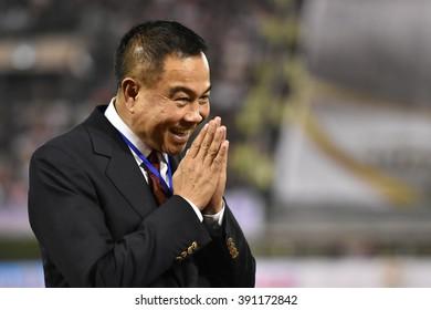 BANGKOK THAILAND-FEB 20:Somyot Poompanmoung president of the Football Association of Thailand during The Kor Royal Cup 2016 at Supachalasai Stadium on February 20,2016 in Bangkok Thailand