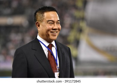 BANGKOK THAILAND-FEB 20:Somyot Poompanmoung president of the Football Association of Thailand during The Kor Royal Cup 2016 at Supachalasai Stadium on February 20,2016 in Bangkok Thailand