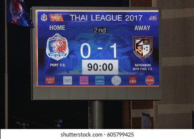 BANGKOK THAILAND-FEB11 :Show scoreboards of PAT Stadium during  Thai League 2017 between Thai Port Fc and Ratchaburi Mitr Phol FC at PAT Stadium on February 11,2017 in Bangkok Thailand