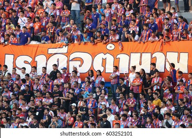 BANGKOK THAILAND-FEB11 :Unidentified fans of Thai Port Fc supporters during Thai League 2017 between Thai Port Fc and Ratchaburi Mitr Phol FC at PAT Stadium on February 11,2017 in Bangkok Thailand
