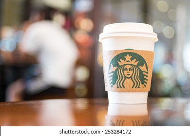 Bangkok ,Thailand-February 10 : Starbucks Hot beverage coffee on table on 10 February 2015 at The mall department store, Bangkok, Thailand.
