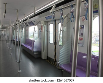 Bangkok, Thailand-February 11,2018: Interior of MRT Purple Line (MRT Chalong Ratchadham Line) J-TREC Sustina Trainset at Khlong Bang Phai Terminal Station