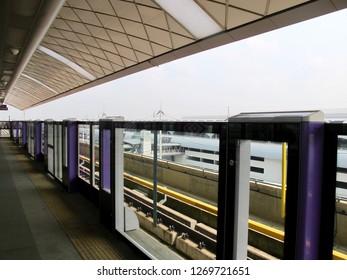 Bangkok, Thailand-February 11,2018: Bangkok MRT Purple Line (Metropolitan Rapid Transit Chalong Ratchadham Line) Train Platform at Khlong Bang Phai Station