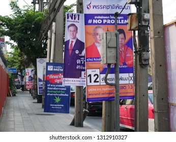 Bangkok, Thailand-February 12, 2019: Posters of election candidates of 2019 Thai General Election on the sidewalk in a district in Bangkok. The nationwide election is scheduled on  24 March 2019.