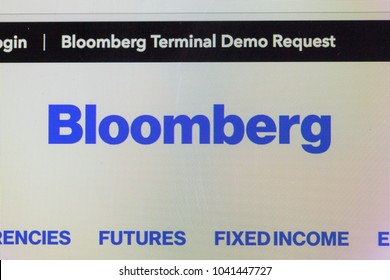 BANGKOK, THAILAND-FEBRUARY 27,2018: Bloomberg logo on the website homepage in monitor