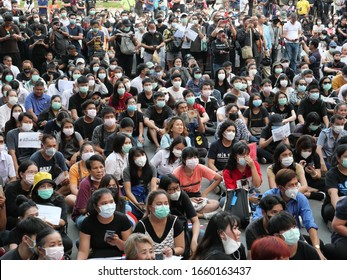 Bangkok, Thailand-February 29, 2020: Crowd gathering at Thailand's student flash mob on politics. University students, high school students and people join the pro-democracy protest at Kasetsart