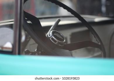 Bangkok Thailand,Febulary 18 ,2018: steering wheel chevrolet classic car
