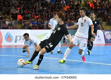 BANGKOK THAILAND-JAN 29:Sorasak Phoonjungreed of Thailand in action during AFF AIS Futsal Championship 2016 Match Thailand and Myanmar at Hua Mark Indoor Stadium on January 29,2017