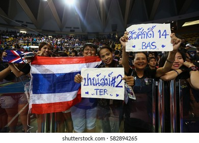 BANGKOK THAILAND-JAN 29:Unidentified fans of Thailand supporters during AFF AIS Futsal Championship 2016 Match Thailand and Myanmar at Hua Mark Indoor Stadium on January 29,2017