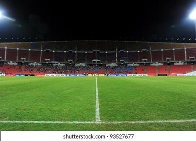 BANGKOK THAILAND-JAN15:Rajamangala stadium  during the 41st King's cup football between Thailand(Y) and KoreaRep(R)at Rajamangala stadium on Jan15,2012 in Bangkok,Thailand.