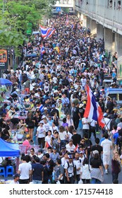 BANGKOK, THAILAND-JANUARY 14: Unidentified protesters shut down the city or the reformation before election at the Ratchaprasong rd. on January 14, 2014 in Bangkok,Thailand.