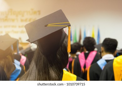 BANGKOK, THAILAND-JANUARY 20, 2018: The university graduates joined commencement ceremony.