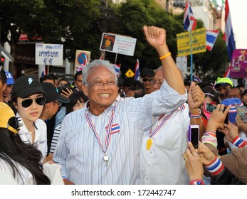 BANGKOK, THAILAND-JANUARY 21:PDRC leader Suthep Thaugsuban continue the shutdown bangkok campaign and asks for reforms before an election at sathorn rd.  on  January 21,2014 in Bangkok,Thailand.
