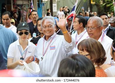 BANGKOK, THAILAND-JANUARY 21:PDRC leader suthep thaugsuban continue the shutdown bangkok campaign and asks for reforms before an election at sathorn rd.  on  January 21,2014 in Bangkok,Thailand.