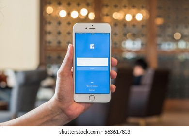 BANGKOK, THAILAND-January 22, 2017: Facebook social media app icon signup page on iphone7 mobile smartphone touch screen.