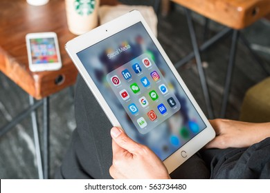 BANGKOK, THAILAND-January 22, 2017: Social media app icons on Ipad, Iphone 7 smart phone touchscreen mobile internet technology lifestyle in digital age.