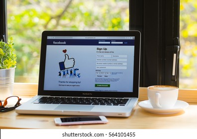 Bangkok. Thailand.January 24, 2016:Facebook signup web page on pc computer laptop screen. Facebook is the most famous social website all over the world.Thailand