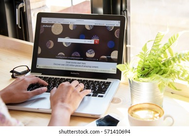 Bangkok. Thailand.January 24, 2017: Shutterstock  signup web page on laptop screen;  Shutterstock the largest  photo sales for social network in the world.