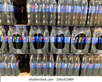 Bangkok, Thailand-January 30 2018: Pack of soft drink plastic bottles in the store.