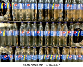 Bangkok, Thailand-January 30 2018: Pack of soft drink plastic bottles in the store. Pepsi plastic bottle.