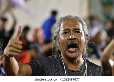 BANGKOK THAILAND-JUL 23 :Unidentified fans of Thailand supporters during AFC U23 Championship China 2018 qualifiers against Indonesia at Supachalasai Stadium on July 23,2017 in Bangkok Thailand