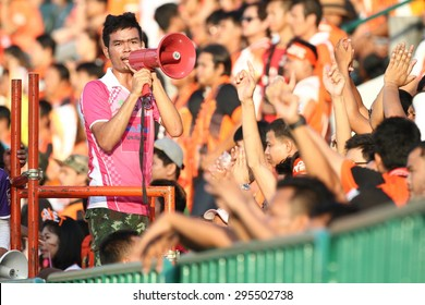 BANGKOK THAILAND-JULY 11:Unidentified of Sisaket FC. supporters during  Thai Premier League between Army United F.C.and Sisaket FC.at Thai Army Stadium on JULY 11,2015in Thailand
