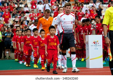 BANGKOK, THAILAND-JULY 28: Steven Gerrard of Liverpool walk to stadium during the international friendly match Thailand and Liverpool at the Rajamangala Stadium on July 28, 2013 in Bangkok, Thailand.