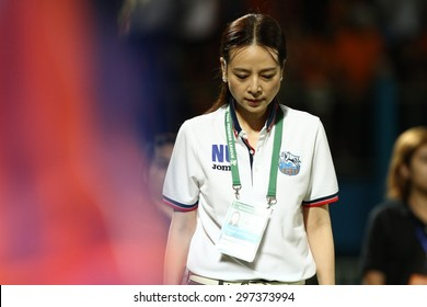 BANGKOK THAILAND-JULY15 :Chairman,Nuanphan Lamsam President of Thai Port Fc during Thai Premier League between Thai Port Fc and Nakhon Ratchasima F.C.at PAT Stadium on July15,2015 in Bangkok Thailand
