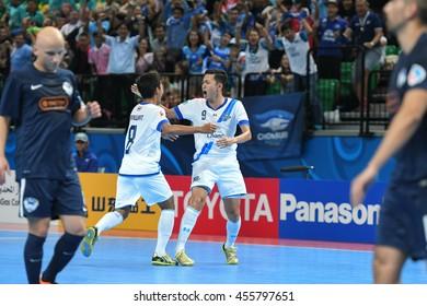 BANGKOK THAILAND-JULY15:Players of Chonburi Bluewave celebrates during AFC FUTSAL CLUB CHAMPIONSHIP2016 Match Chonburi Bluewave and Vic Vipers FC at Bangkok Arena Stadium on July15,2016