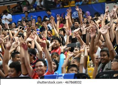 BANGKOK THAILAND-JULY15:Unidentified fans of Chonburi Bluewave supporters during AFC FUTSAL CLUB CHAMPIONSHIP 2016Match Chonburi Bluewave and Nagoya Oceans at Bangkok Arena Stadium on July15,2016