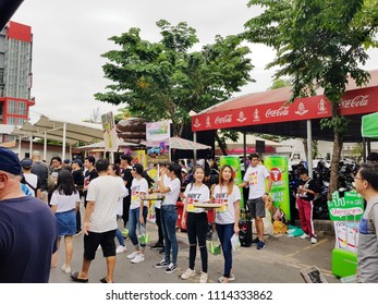 BANGKOK, THAILAND-June 17 :  CARABAO CAN Green Apple booth on June 17, 2018 at CHATUCHAK Market, BANGKOK, THAILAND. They have expanded its market with a promotion during 2018 World Cup.