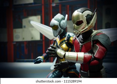 Bangkok, Thailand-June 17,2018: Ant-Man and Wasp, action figures from famous Marvel's comic