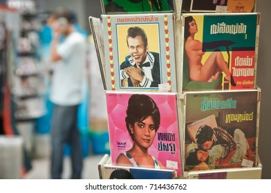 BANGKOK THAILAND-JUNE 18: retro vinyl records Of famous Thai music in music store on June 18, 2011 in Bangkok,Thailand.