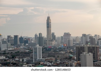 Bangkok ,Thailand-June 21,2018 ;The city view that show Thailand's air pollution particulate matter of 2.5 microns or less in diameter (PM 2.5) in central of Bangkok, Thailand.