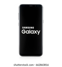 BANGKOK, THAILAND-June 9th 2017: Samsung Galaxy S8+, S8 Plus on white background, closed blank screen, brand new Samsung smartphone announced on April 2017