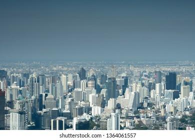 BANGKOK, THAILAND-MAR 10,2019: PM2.5 Polution at Bangkok City view at high Buliding on Mar 10, 2019 in Bangkok, Thailand.