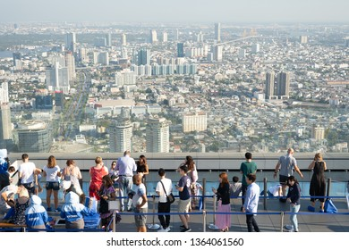 BANGKOK, THAILAND-MAR 10,2019: Tourist going to King Power Mahanakhon SkyWalk (Thailand's Highest Building) for Walk on one of the world's largest glass balconies & enjoy 360 degree panoramic views