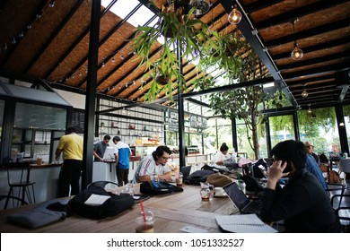 Bangkok, Thailand:March 21,2018-People are working, meeting, chatting, relaxing in the coffee cafe and co-working space. Lifestyle of people in working outside office.