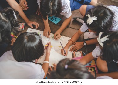 Bangkok, Thailand-March 22,2018: Group Work At School With Group of Thai Student.