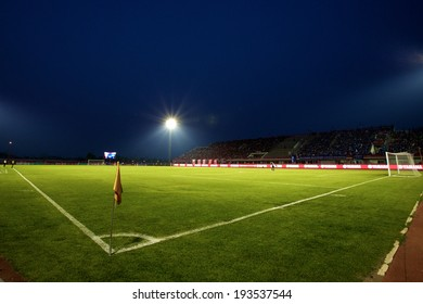 BANGKOK THAILAND-March 23:View of 72-years Anniversary Stadium during Thai Premier League BEC-Tero Sasana and Chonburi F.C.at 72-years Anniversary Stadium on March 23,2014 in Thailand
