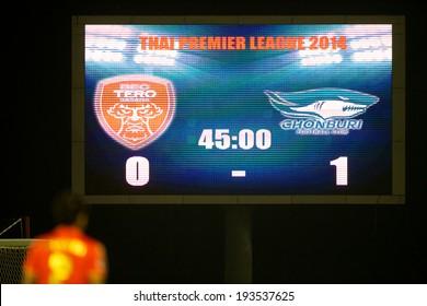 BANGKOK THAILAND-March 23:View scoreboards of  72-years Anniversary Stadium during Thai Premier League BEC-Tero Sasana and Chonburi F.C.at 72-years Anniversary Stadium on March 23,2014 in Thailand
